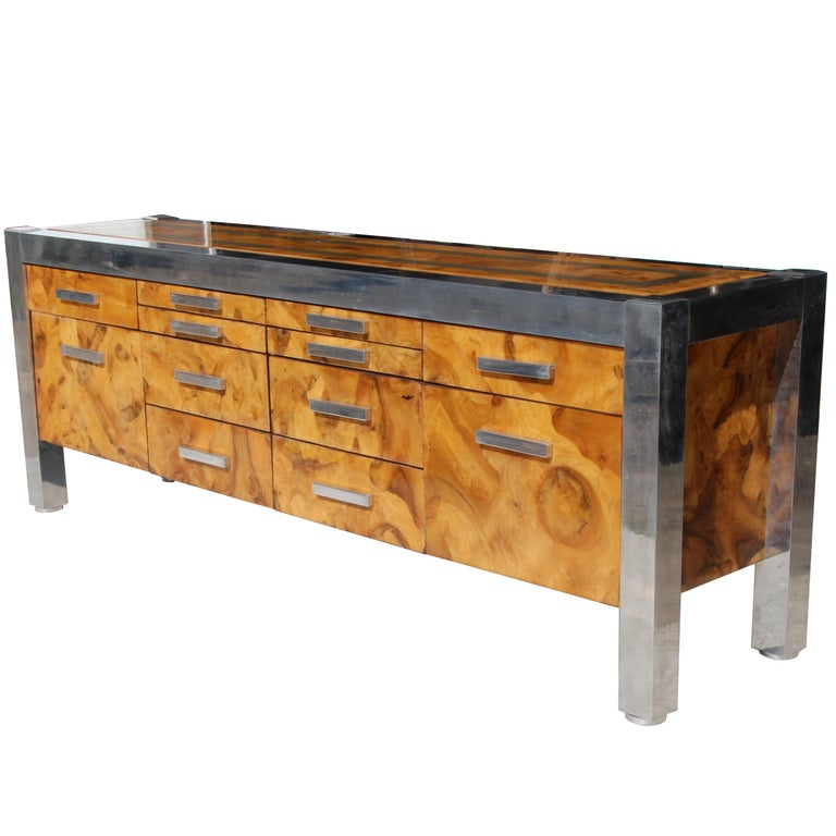 Mid-Century Modern Leon Rosen for Pace Collection Burled Wood and Chrome Credenza For Sale