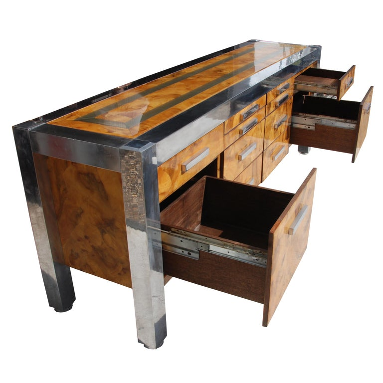 North American Leon Rosen for Pace Collection Burled Wood and Chrome Credenza For Sale