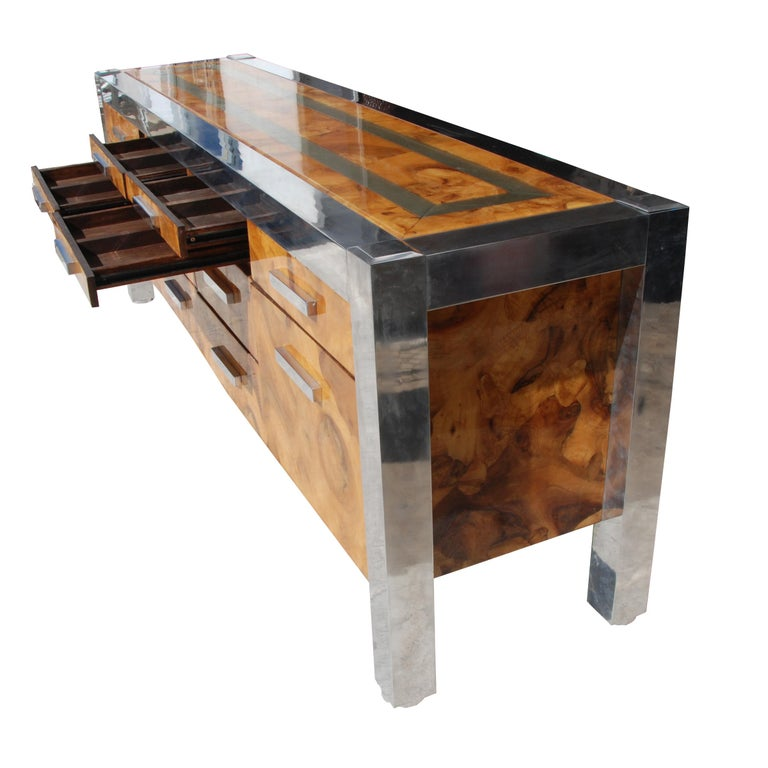 20th Century Leon Rosen for Pace Collection Burled Wood and Chrome Credenza For Sale