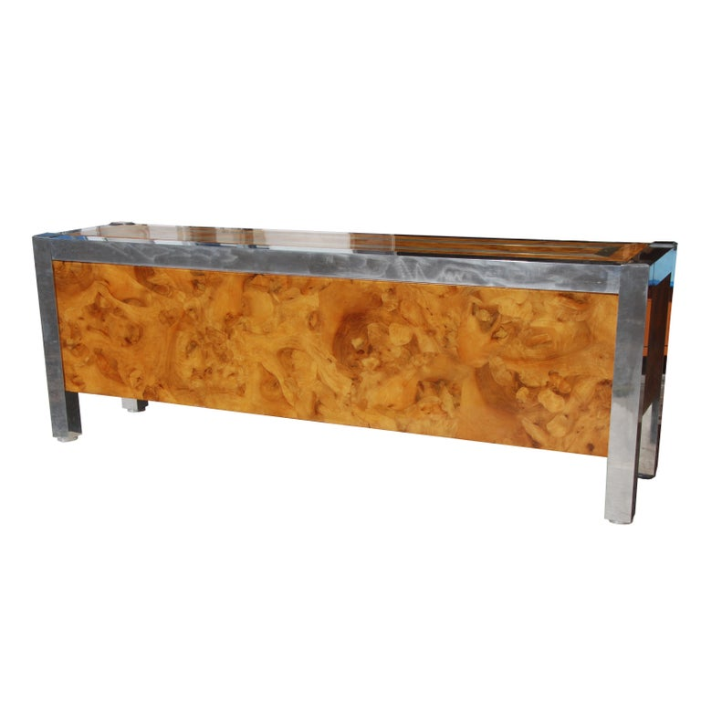 Leon Rosen for Pace Collection Burled Wood and Chrome Credenza For Sale 3