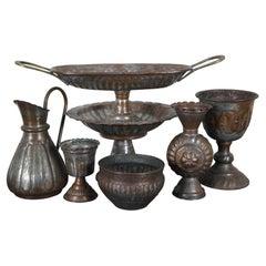 7pc Assorted Vintage Hammered Copper & Tin Bud Vase Goblet Compote Pitcher