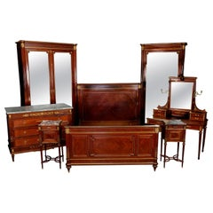 7-Piece French Louis XVI Mahogany Marquetry & Ormolu Bedroom Suite, Signed