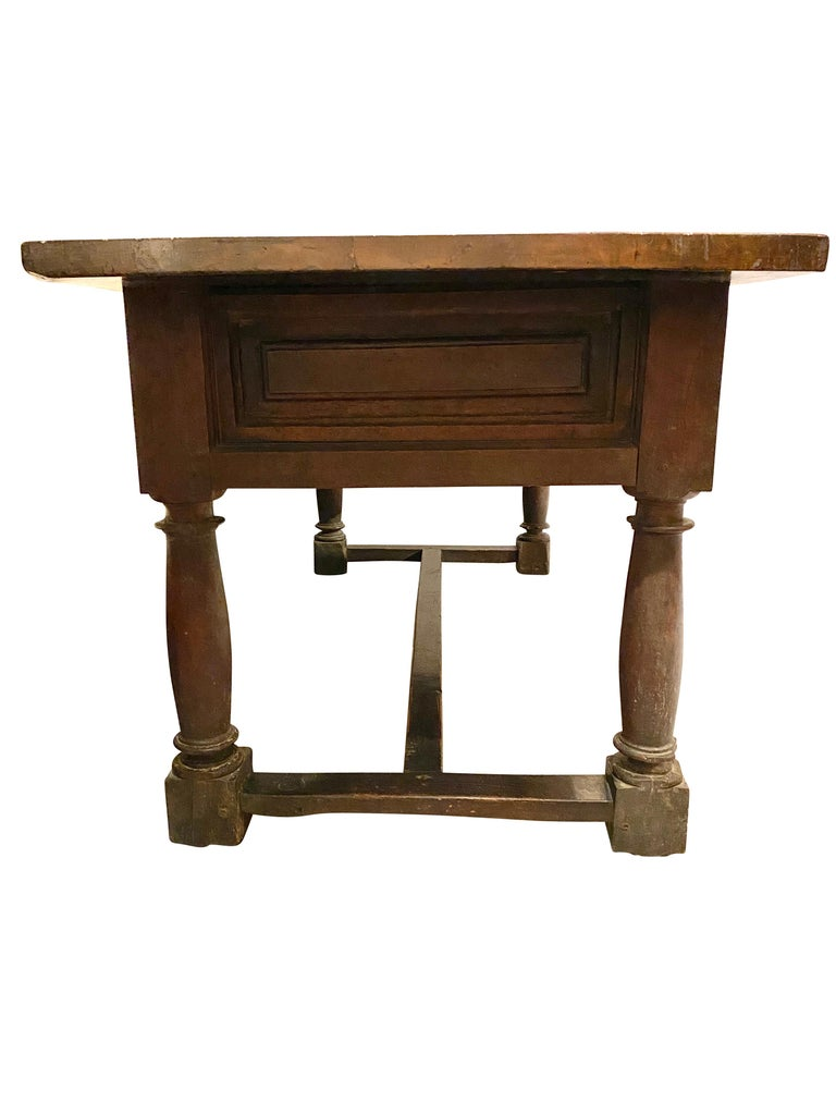 17th Century Spanish Baroque Walnut Table In Fair Condition For Sale In Essex, MA