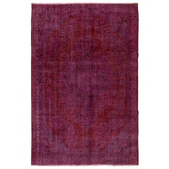 7x10.2 Ft Vintage Rug Re-Dyed in Pink Colors for Modern Home or Office Decor