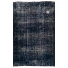 Distressed Vintage Hand-Knotted Area Rug Over-Dyed in Dark Indigo Blue