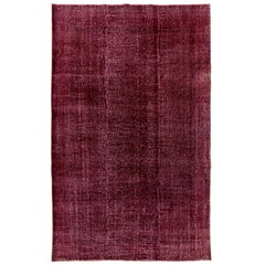7x10.5 Ft Solid Red Color Re-Dyed Vintage Rug. Wool Turkish Carpet. Floor Cover