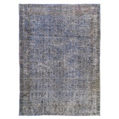 Vintage Floral Handmade Distressed Wool Area Rug Overdyed in Blue