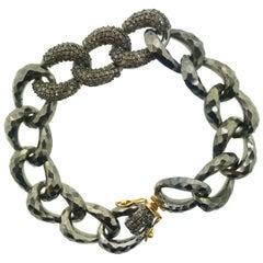 2.30 Carat Pave Diamond Link Bracelet Oxidized Sterling Silver, 14 Karat Gold