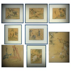8 Antique Chinese China Artist Signed China Painting Qian Hui'an