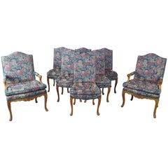 8 Antique French Provincial Carved Walnut Floral Upholstered Dining Chairs