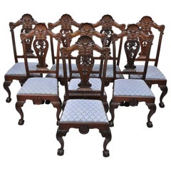 8 Antique Mahogany Georgian Chippendale Shell Carved Ball and Claw Dining Chairs