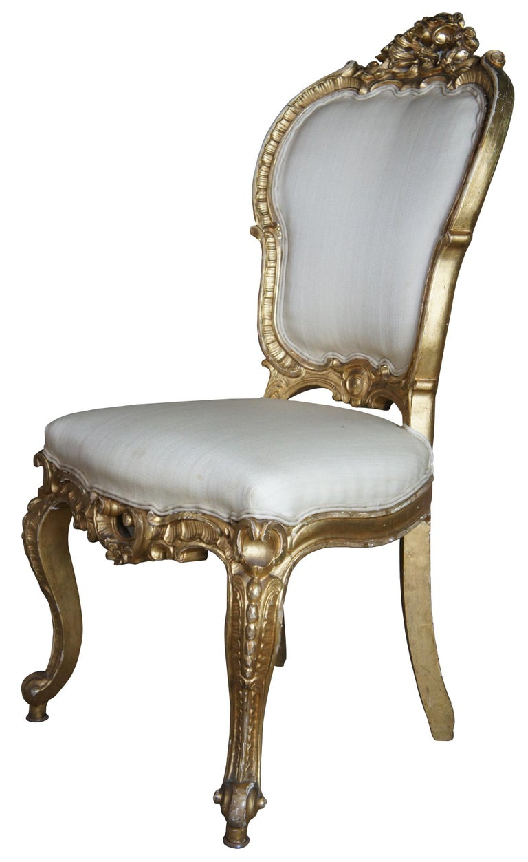 8 Antique Swedish 18th Century Baroque French Louis XV Rococo Gilt Dining Chairs In Good Condition For Sale In Dayton, OH