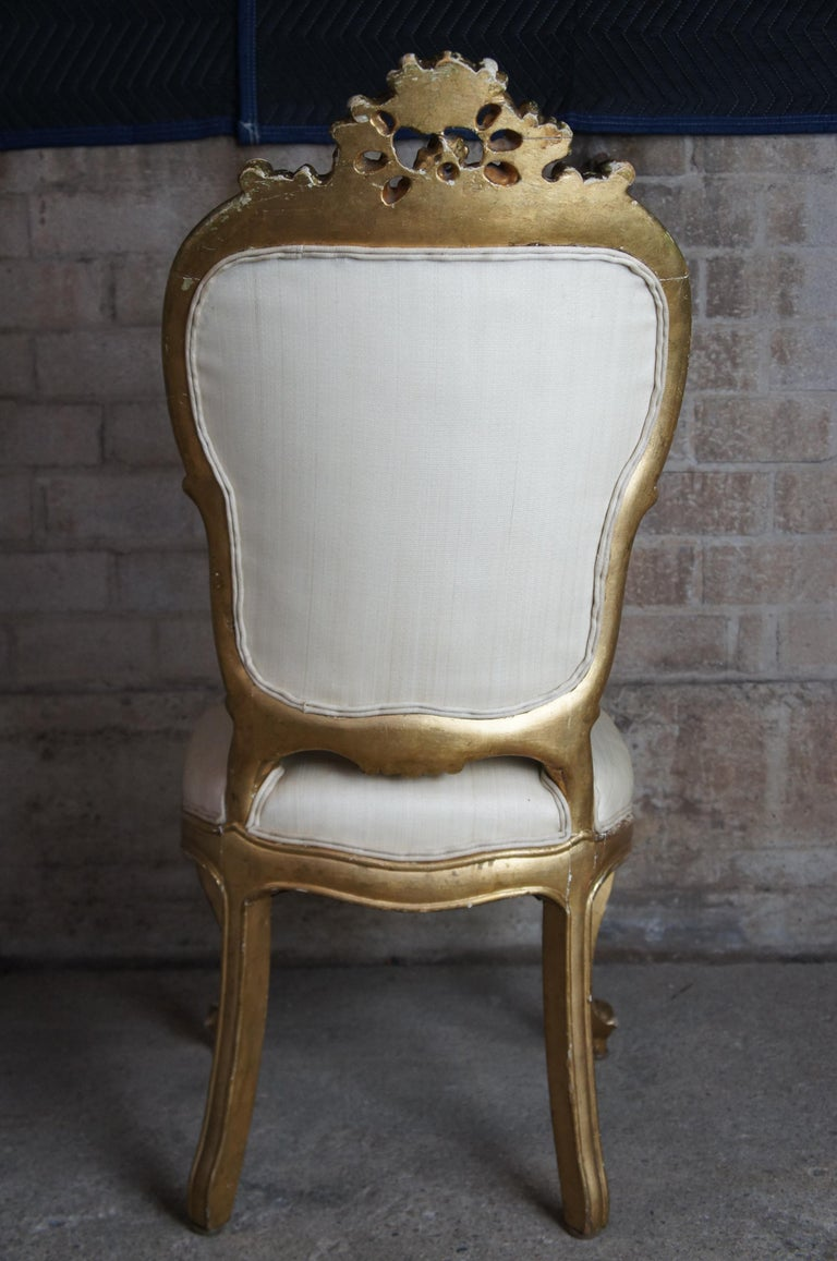 8 Antique Swedish 18th Century Baroque French Louis XV Rococo Gilt Dining Chairs For Sale 4