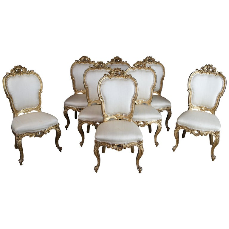 8 Antique Swedish 18th Century Baroque French Louis XV Rococo Gilt Dining Chairs For Sale