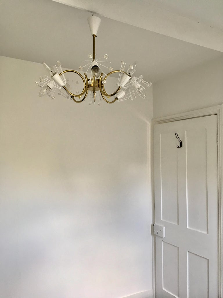 8-Arm Emil Stejnar Chandelier in White with Brass Frame Austria Mid-20th Century For Sale 3