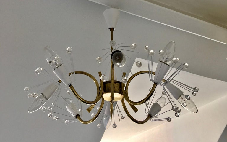 8-Arm Emil Stejnar Chandelier in White with Brass Frame Austria Mid-20th Century For Sale 4