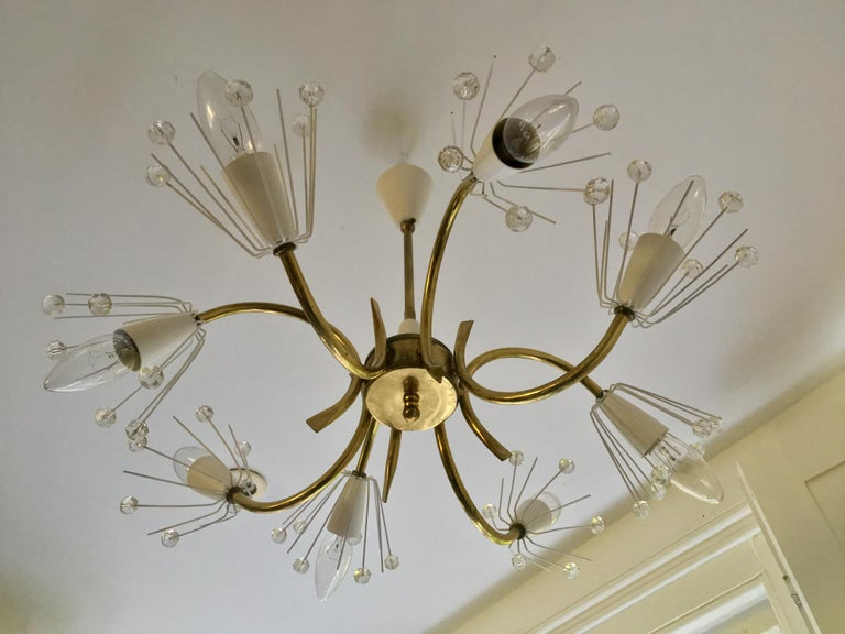 8-Arm Emil Stejnar Chandelier in White with Brass Frame Austria Mid-20th Century For Sale 2