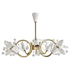 8-Arm Emil Stejnar Chandelier in White with Brass Frame Austria Mid-20th Century