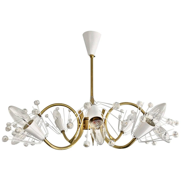 8-Arm Emil Stejnar Chandelier in White with Brass Frame Austria Mid-20th Century For Sale
