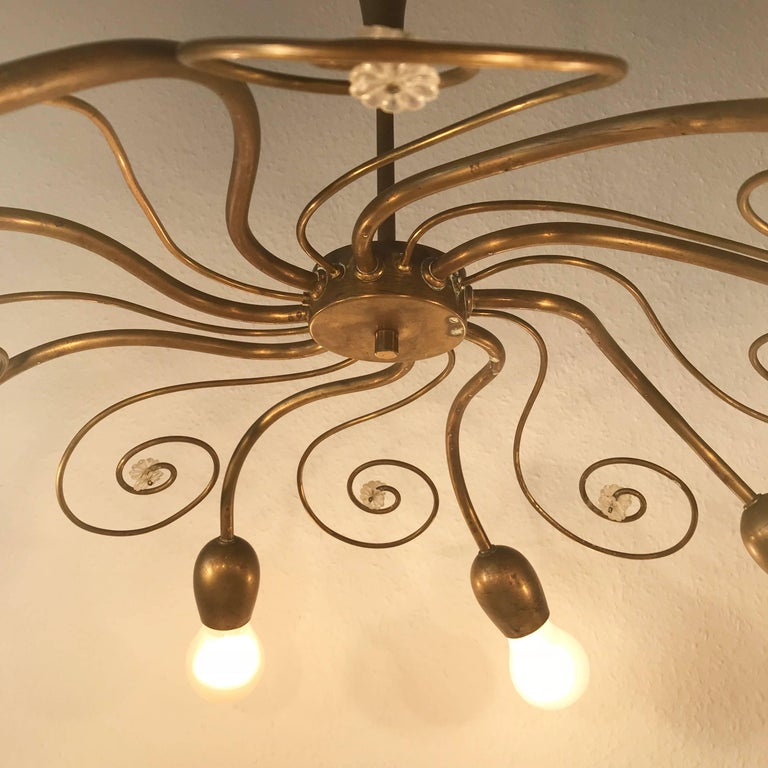 Eight-Armed Sputnik Chandelier Pendant Lamp Swirl, J. & L. Lobmeyr Vienna, 1950s For Sale 3