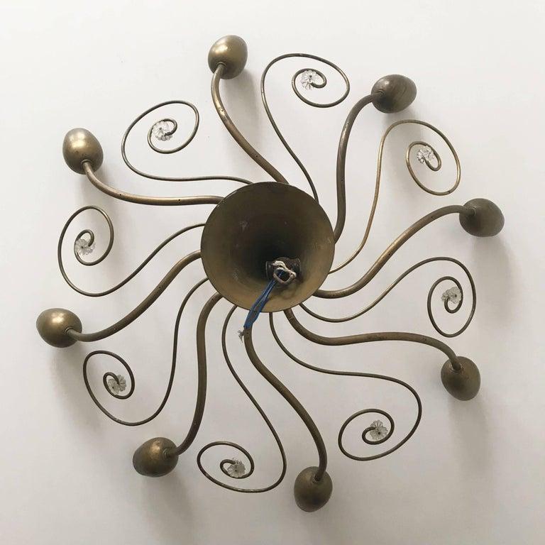 Eight-Armed Sputnik Chandelier Pendant Lamp Swirl, J. & L. Lobmeyr Vienna, 1950s For Sale 4