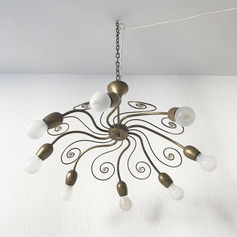 Mid-Century Modern Eight-Armed Sputnik Chandelier Pendant Lamp Swirl, J. & L. Lobmeyr Vienna, 1950s For Sale