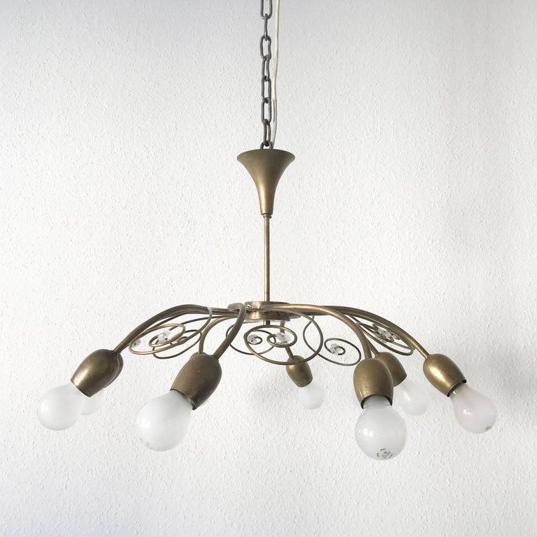Austrian Eight-Armed Sputnik Chandelier Pendant Lamp Swirl, J. & L. Lobmeyr Vienna, 1950s For Sale