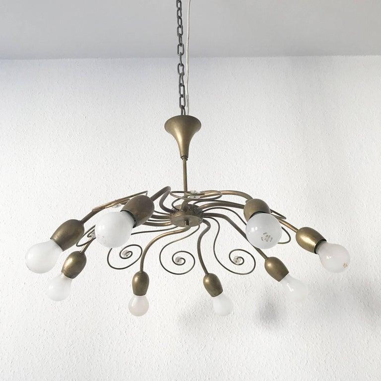 Eight-Armed Sputnik Chandelier Pendant Lamp Swirl, J. & L. Lobmeyr Vienna, 1950s In Good Condition For Sale In Munich, DE
