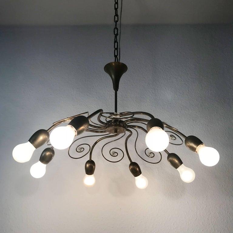 Mid-20th Century Eight-Armed Sputnik Chandelier Pendant Lamp Swirl, J. & L. Lobmeyr Vienna, 1950s For Sale