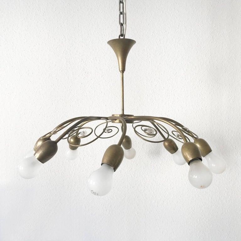 Brass Eight-Armed Sputnik Chandelier Pendant Lamp Swirl, J. & L. Lobmeyr Vienna, 1950s For Sale