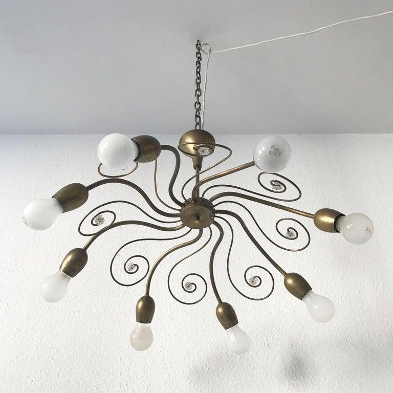 Eight-Armed Sputnik Chandelier Pendant Lamp Swirl, J. & L. Lobmeyr Vienna, 1950s For Sale 1