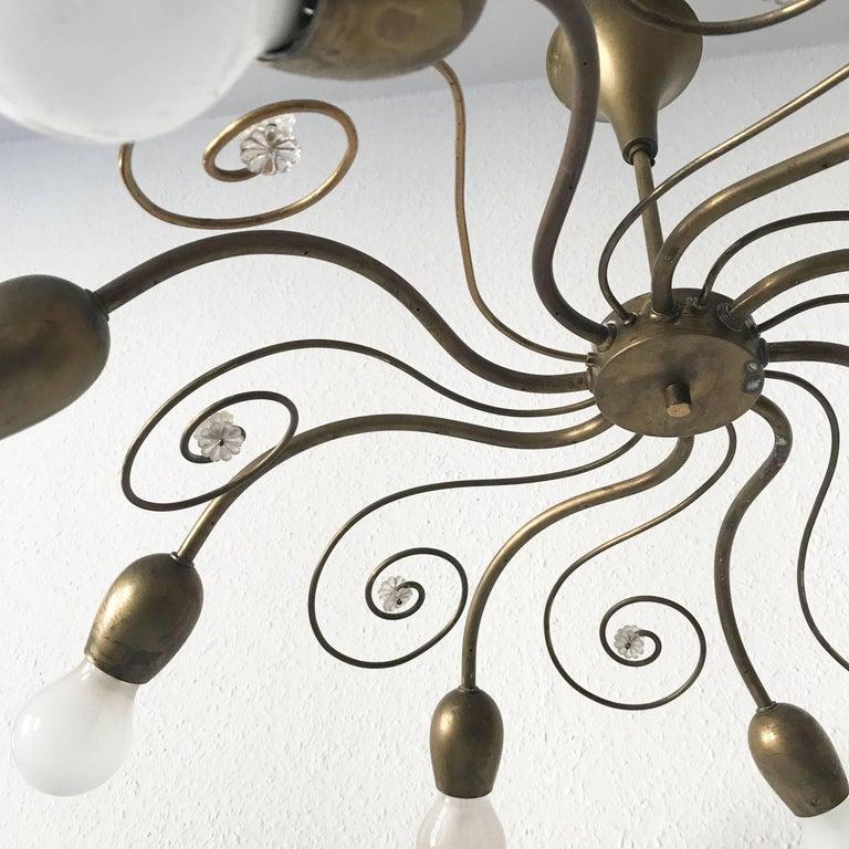 Eight-Armed Sputnik Chandelier Pendant Lamp Swirl, J. & L. Lobmeyr Vienna, 1950s For Sale 2