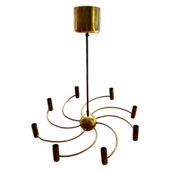 8 Arms Brass Chandelier, Europe, circa 1950's