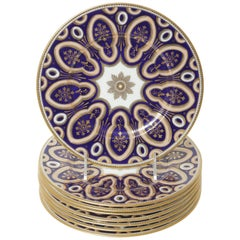 8 Art Deco Custom for Tiffany Vibrant Cobalt Coral Color Dessert Plates