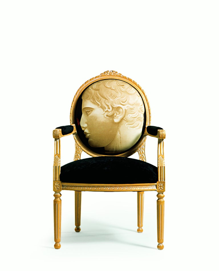 Italian 8/B-CANC Gold & White Armchair in Printed Fabric, Paolo Canciani & Zanaboni For Sale