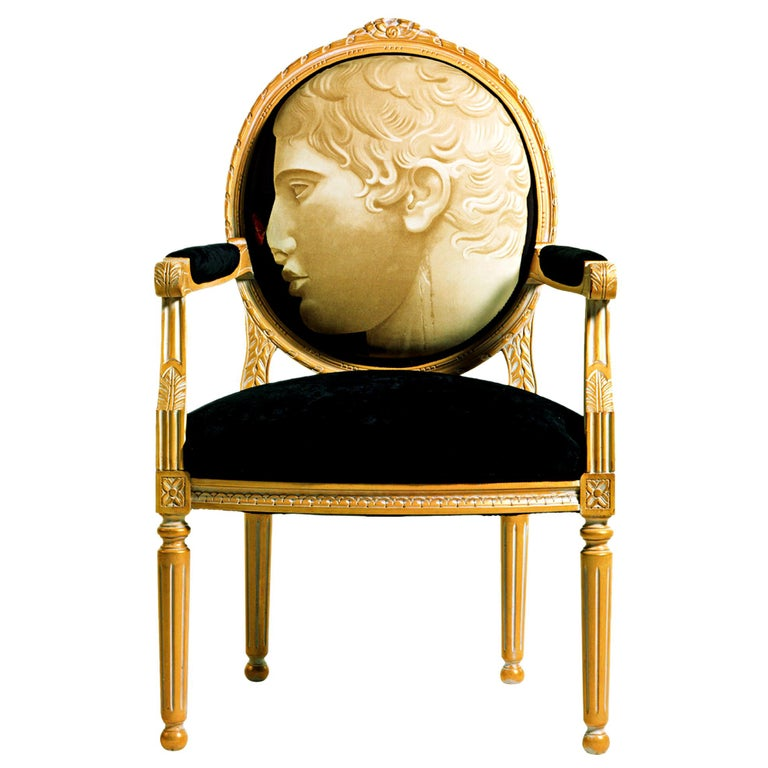 8/B-CANC Gold & White Armchair in Printed Fabric, Paolo Canciani & Zanaboni For Sale