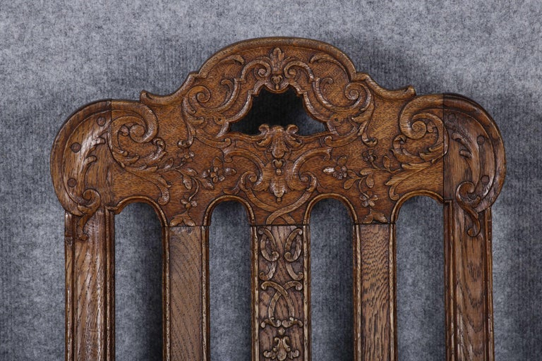 8 Baroque Chairs Liège 18th Century Oak For Sale 6