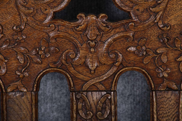 8 Baroque Chairs Liège 18th Century Oak For Sale 7