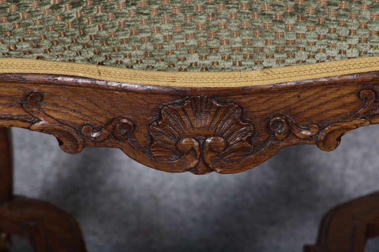 8 Baroque Chairs Liège 18th Century Oak For Sale 9