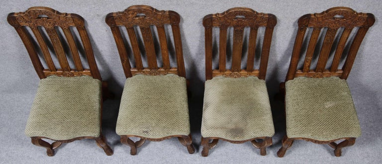 8 Baroque Chairs Liège 18th Century Oak For Sale 11
