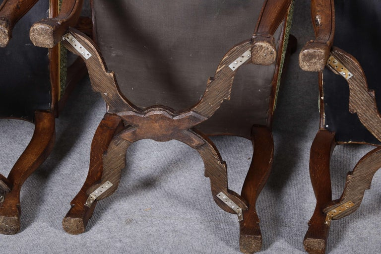 8 Baroque Chairs Liège 18th Century Oak For Sale 13