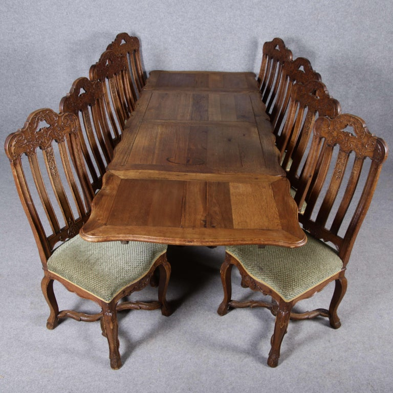 8 Baroque Chairs Liège 18th Century Oak For Sale 14