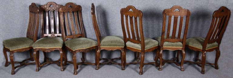 Rococo 8 Baroque Chairs Liège 18th Century Oak For Sale