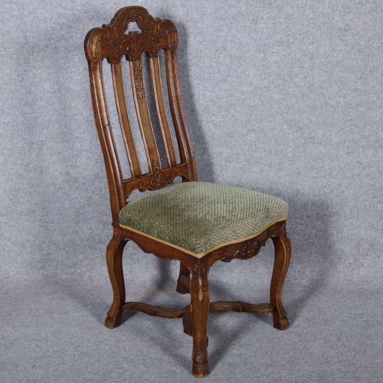 Woodwork 8 Baroque Chairs Liège 18th Century Oak For Sale
