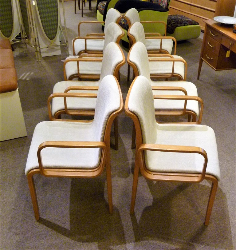 8 Bill Stephens Midcentury 1300 Series Armed Dining Chairs for Knoll For Sale 8