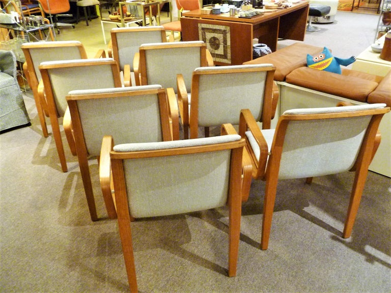 8 Bill Stephens Midcentury 1300 Series Armed Dining Chairs for Knoll For Sale 9