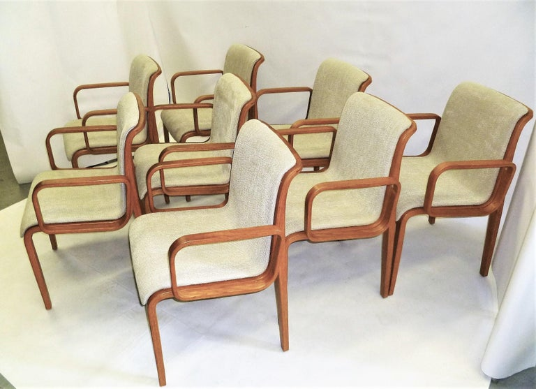 Mid-Century Modern 8 Bill Stephens Midcentury 1300 Series Armed Dining Chairs for Knoll For Sale