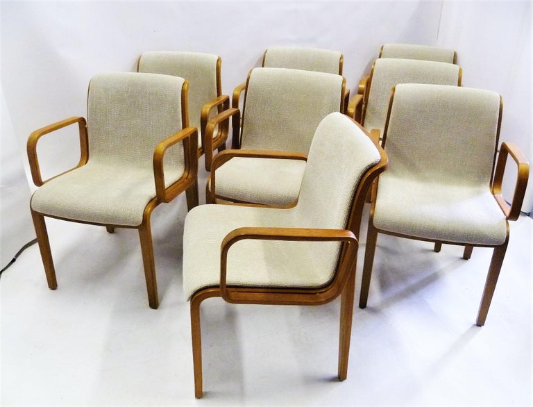 Late 20th Century 8 Bill Stephens Midcentury 1300 Series Armed Dining Chairs for Knoll For Sale