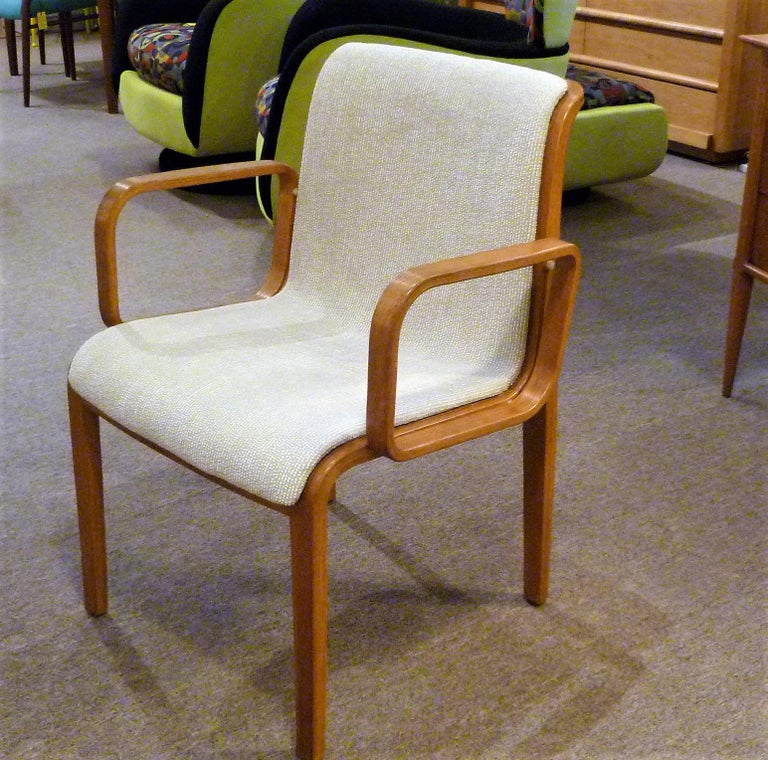 Oak 8 Bill Stephens Midcentury 1300 Series Armed Dining Chairs for Knoll For Sale