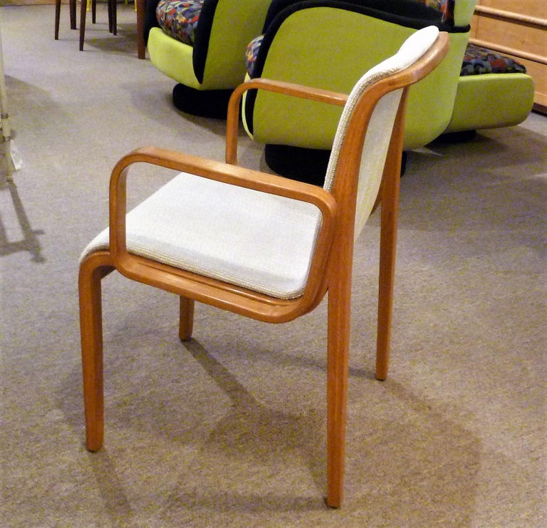 8 Bill Stephens Midcentury 1300 Series Armed Dining Chairs for Knoll For Sale 2